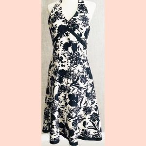 Ann Taylor | Halter Black & White Floral Dress